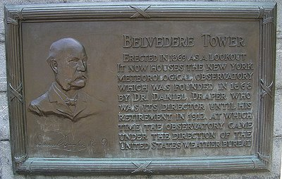 Plaque giving details about the Belvedere Tower