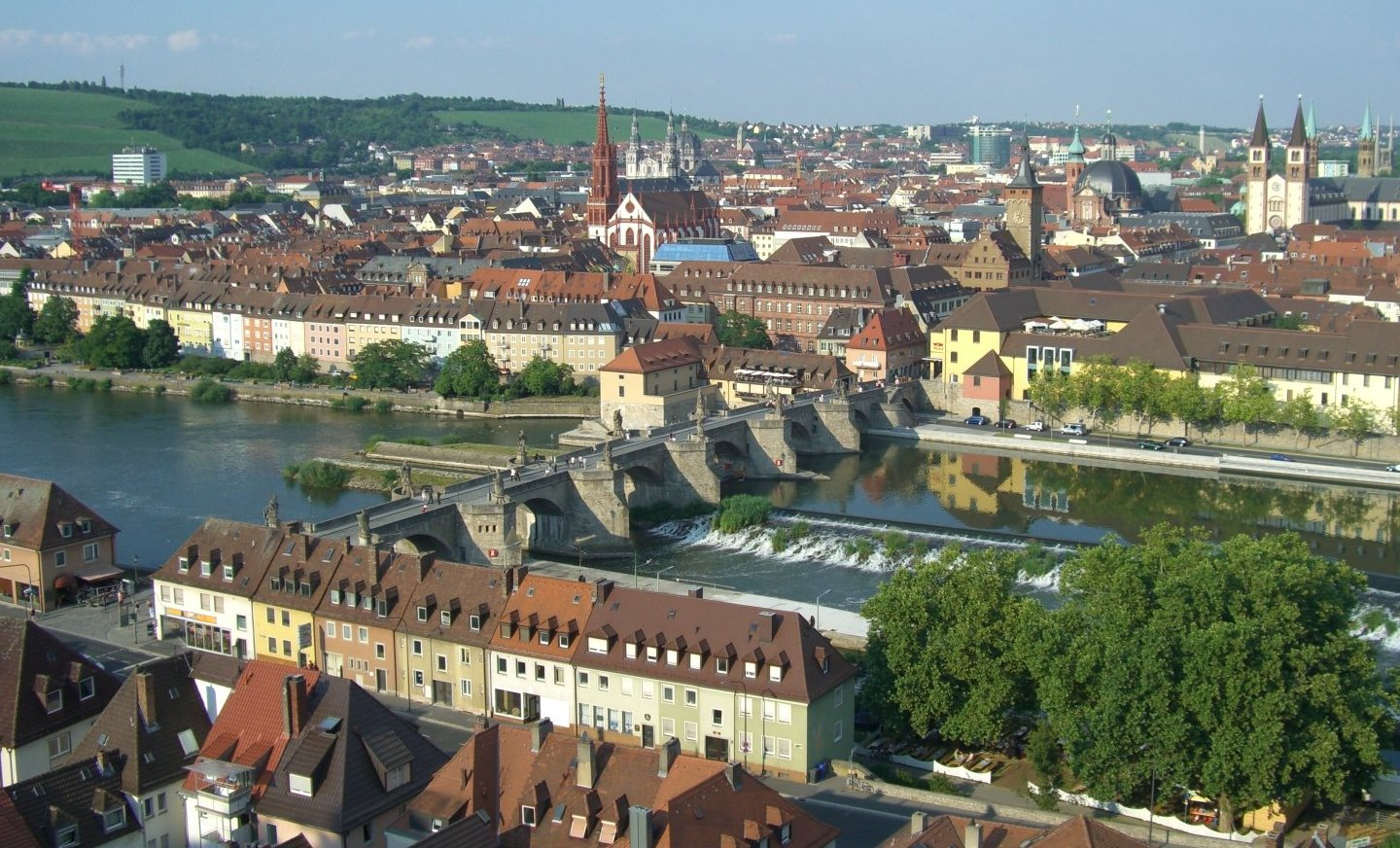 The city of Würzburg viewed from Fortress Marienberg